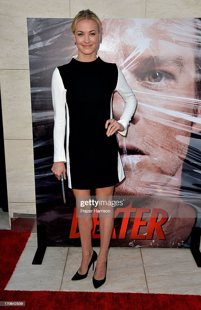 Actress <a gi-track='captionPersonalityLinkClicked' href=/galleries/search?phrase=Yvonne+Strahovski&family=editorial&specificpeople=4387578 ng-click='$event.stopPropagation()'>Yvonne Strahovski</a> arrives at the Showtime Celebrates 8 Seasons Of 'Dexter' at Milk Studios on June 15, 2013 in Hollywood, California.