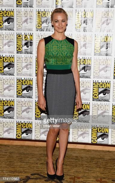 Actress Yvonne Strahovski attends Lionsgate's 'The Hunger Games Catching Fire' and 'I Frankenstein' press line during ComicCon International 2013 at...