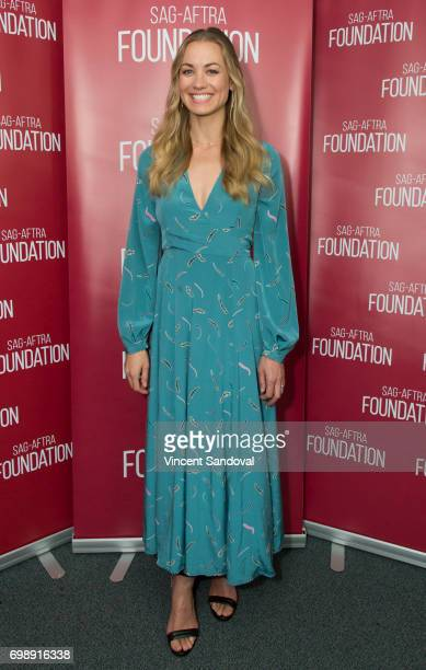 Actress Yvonne Strahovski attends SAGAFTRA Foundation's Conversations with 'The Handmaid's Tale' at SAGAFTRA Foundation Screening Room on June 20...