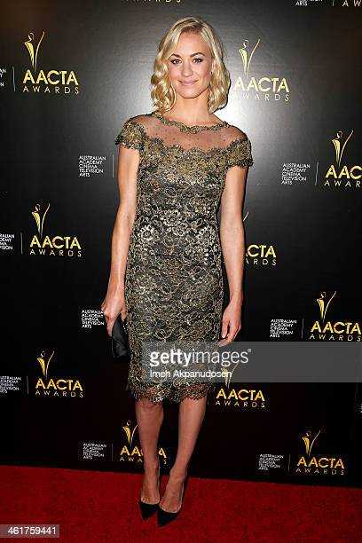 Actress Yvonne Strahovski attends the 3rd Annual Australian Academy International Awards at Sunset Marquis Hotel Villas on January 10 2014 in West...