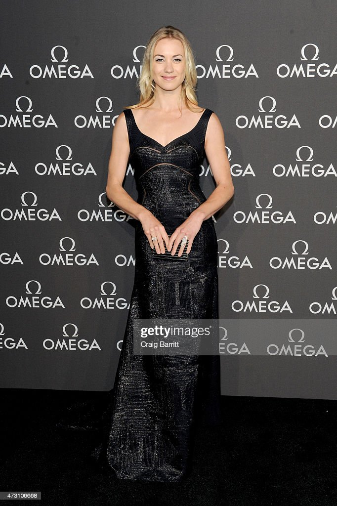 Actress Yvonne Strahovski attends the OMEGA Speedmaster Houston Event at Western Airways Airport Hangar on May 12, 2015 in Sugar Land, Texas.