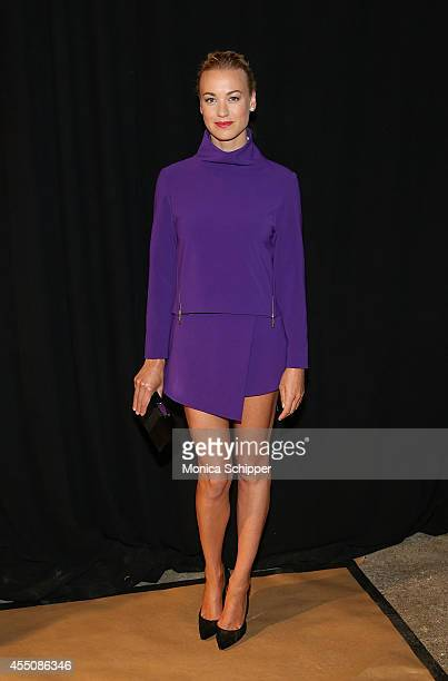 Actress Yvonne Strahovski poses for a photo Êbackstage at the ICB fashion show during MercedesBenz Fashion Week Spring 2015 at Art Beam on September...