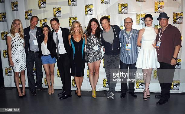 Actress Yvonne Strahovski producer Scott Buck actress Aimee Garcia actor Desmond Harrington actress Julie Benz actress Jaime Murray actor Michael C...