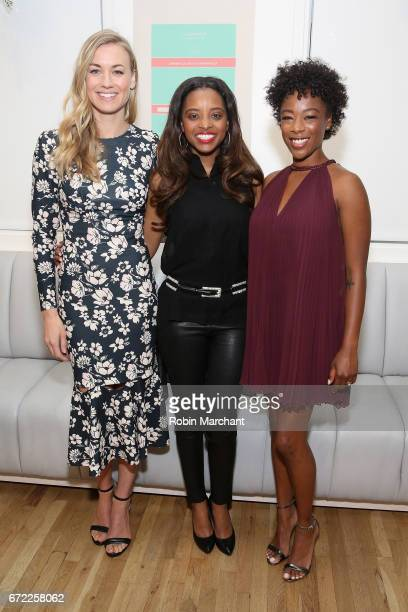 Actress Yvonne Strahovski Women's March National CoChair Tamika Mallory and actress Samira Wiley attend a VIP screening of the Original Series 'The...