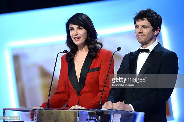 Actress Zabou Breitman and actor Pierre Deladonchamps attend the 40th Cesar Film Awards 2015 Ceremony at Theatre du Chatelet on February 20 2015 in...