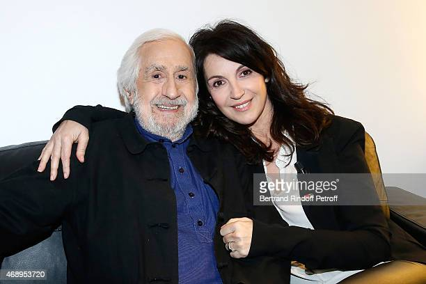 Actress Zabou Breitman and her father JeanClaude Deret attend the 'Vivement Dimanche' French TV Show at Pavillon Gabriel on April 8 2015 in Paris...