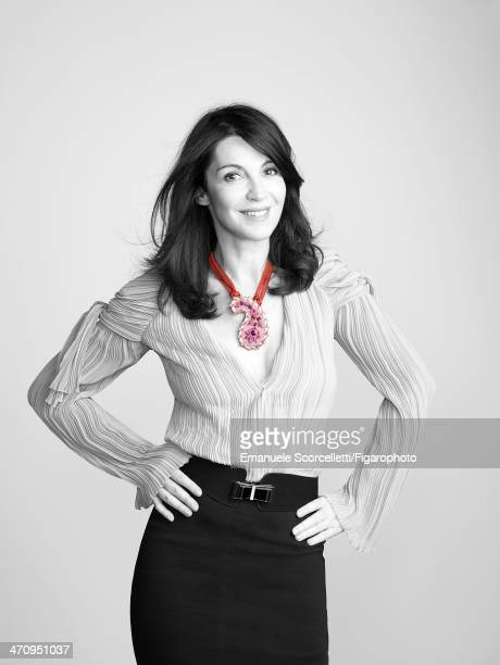 108609003 Actress Zabou Breitman is photographed for Madame Figaro on January 8 2014 in Paris France Shirt skirt and necklace belt PUBLISHED IMAGE...