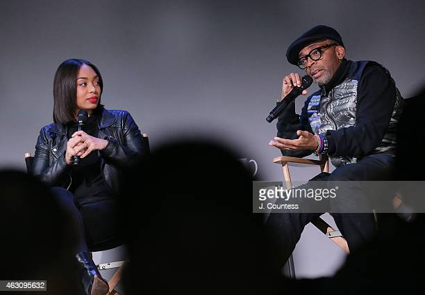 Actress Zaraah Abrahams and filmmaker Spike Lee speak during the Apple Store Soho Presents Meet The Filmmaker Spike Lee And Zaraah Abrahams 'Da Sweet...
