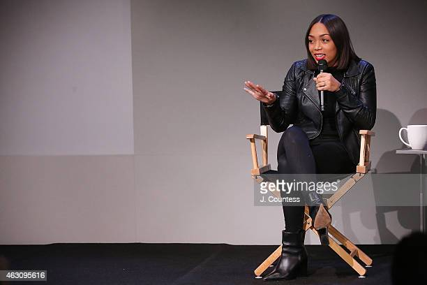 Actress Zaraah Abrahams speaks during the Apple Store Soho Presents Meet The Filmmaker Spike Lee And Zaraah Abrahams 'Da Sweet Blood of Jesus' at the...