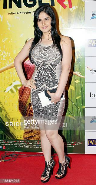 Actress Zarine Khan during the premiere of the movie 'English Vinglish' held at PVR Cinema in Mumbai on October 4 2012