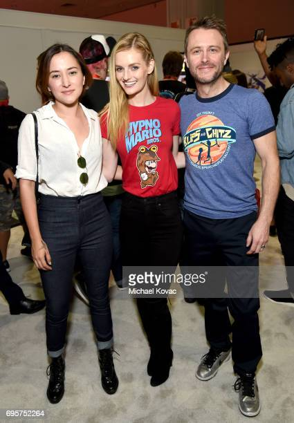 Actress Zelda Williams model Lydia Hearst and comedian Chris Hardwick visit the Nintendo booth at the 2017 E3 Gaming Convention at Los Angeles...