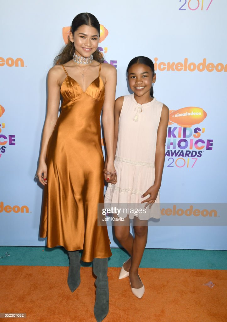Actress Zendaya (L) and guest at Nickelodeon's 2017 Kids' Choice Awards at USC Galen Center on March 11, 2017 in Los Angeles, California.