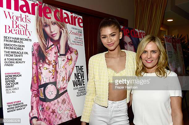 Actress Zendaya and SVP Head of marketing and ecommerce for North America at Coach Marie Audier attend the 'Fresh Faces' party hosted by Marie Claire...