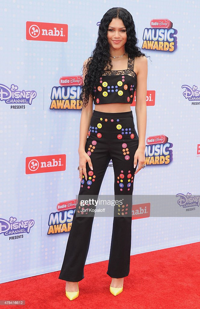 Actress Zendaya arrives at the 2015 Radio Disney Music Awards at Nokia Theatre LA Live on April 25 2015 in Los Angeles California