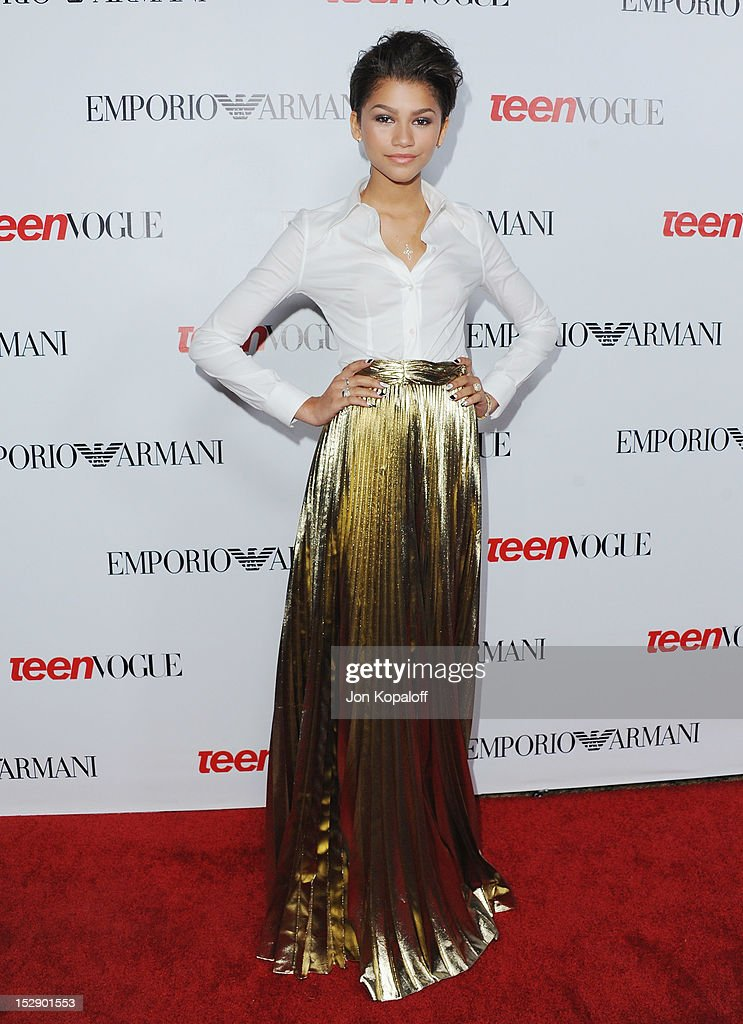 Actress Zendaya arrives at the Teen Vogue's 10th Anniversary Annual Young Hollywood Party on September 27, 2012 in Beverly Hills, California.
