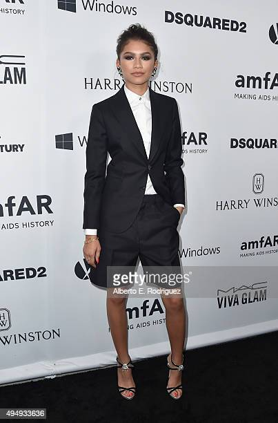 Actress Zendaya attends amfAR's Inspiration Gala Los Angeles at Milk Studios on October 29 2015 in Hollywood California