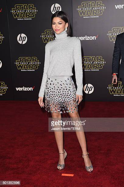 Actress Zendaya attends Premiere of Walt Disney Pictures and Lucasfilm's 'Star Wars The Force Awakens' on December 14 2015 in Hollywood California