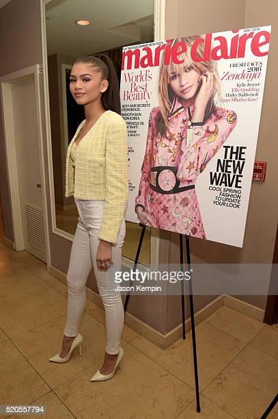 Actress Zendaya attends the 'Fresh Faces' party hosted by Marie Claire celebrating the May issue cover stars on April 11 2016 in Los Angeles...