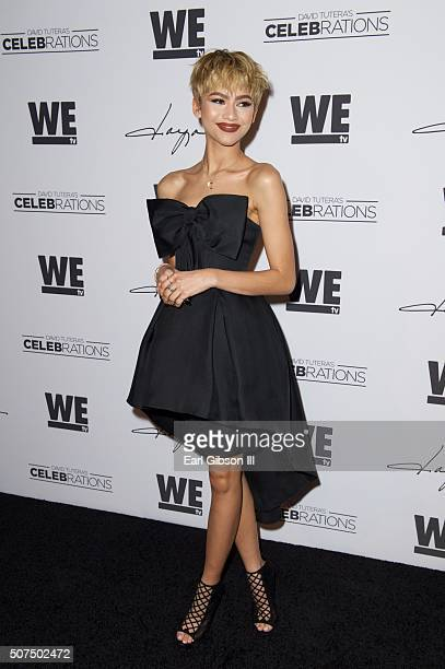 Actress Zendaya attends the kick off of her new shoe line hosted by WE tv's David Tutera CELEBrations at Raleigh Studios on January 29 2016 in Los...