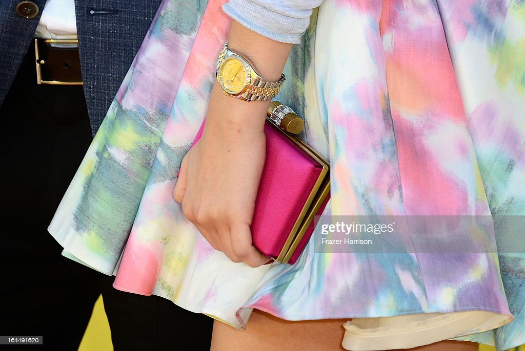 Actress Zendaya Coleman (fashion detail) arrives at Nickelodeon's 26th Annual Kids' Choice Awards at USC Galen Center on March 23, 2013 in Los Angeles, California.