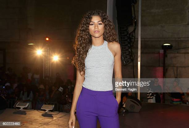 Actress Zendaya poses on stage during the 2016 Essence Street Style Block Party Show at DUMBO on September 10 2016 in Brooklyn Borough of New York...