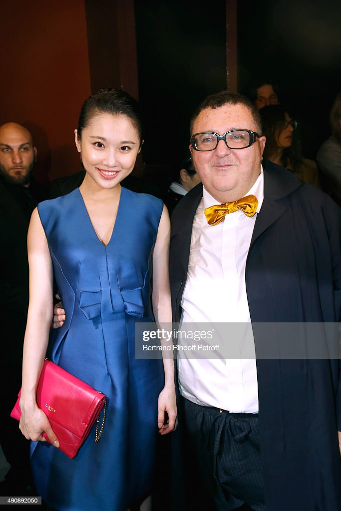 Actress Zhang Huiwen and Fashion Designer <a gi-track='captionPersonalityLinkClicked' href=/galleries/search?phrase=Alber+Elbaz&family=editorial&specificpeople=783481 ng-click='$event.stopPropagation()'>Alber Elbaz</a> pose after the Lanvin show as part of the Paris Fashion Week Womenswear Spring/Summer 2016 on October 1, 2015 in Paris, France.