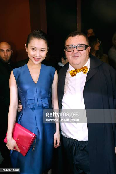 Actress Zhang Huiwen and Fashion Designer Alber Elbaz pose after the Lanvin show as part of the Paris Fashion Week Womenswear Spring/Summer 2016 on...