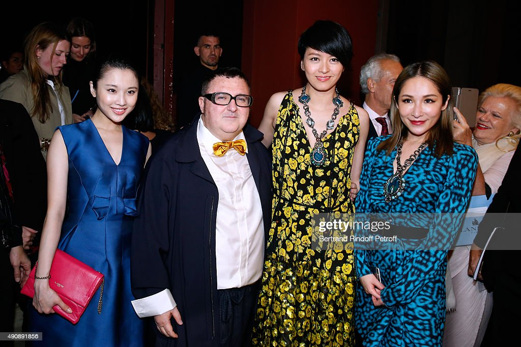 Actress Zhang Huiwen, Fashion Designer <a gi-track='captionPersonalityLinkClicked' href=/galleries/search?phrase=Alber+Elbaz&family=editorial&specificpeople=783481 ng-click='$event.stopPropagation()'>Alber Elbaz</a>, Singer Gigi Leung and Singer <a gi-track='captionPersonalityLinkClicked' href=/galleries/search?phrase=Elva+Hsiao&family=editorial&specificpeople=4533026 ng-click='$event.stopPropagation()'>Elva Hsiao</a> pose after the Lanvin show as part of the Paris Fashion Week Womenswear Spring/Summer 2016 on October 1, 2015 in Paris, France.