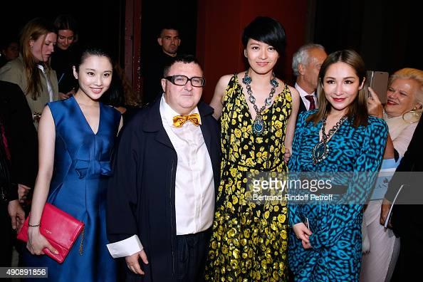 Actress Zhang Huiwen Fashion Designer Alber Elbaz Singer Gigi Leung and Singer Elva Hsiao pose after the Lanvin show as part of the Paris Fashion...