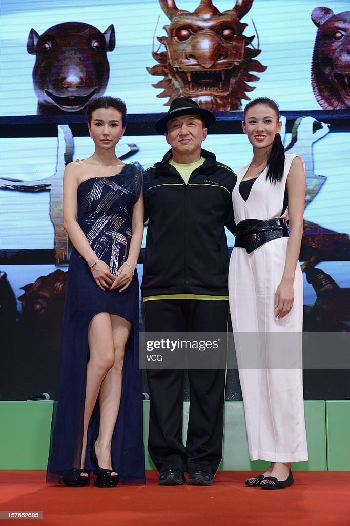 Actress Zhang Lanxin, actor Jackie Chan and actress Yao Xingtong attend a press conference for 'Chinese Zodiac'at Jackie Chan Museum on December 5, 2012 in Shanghai, China.