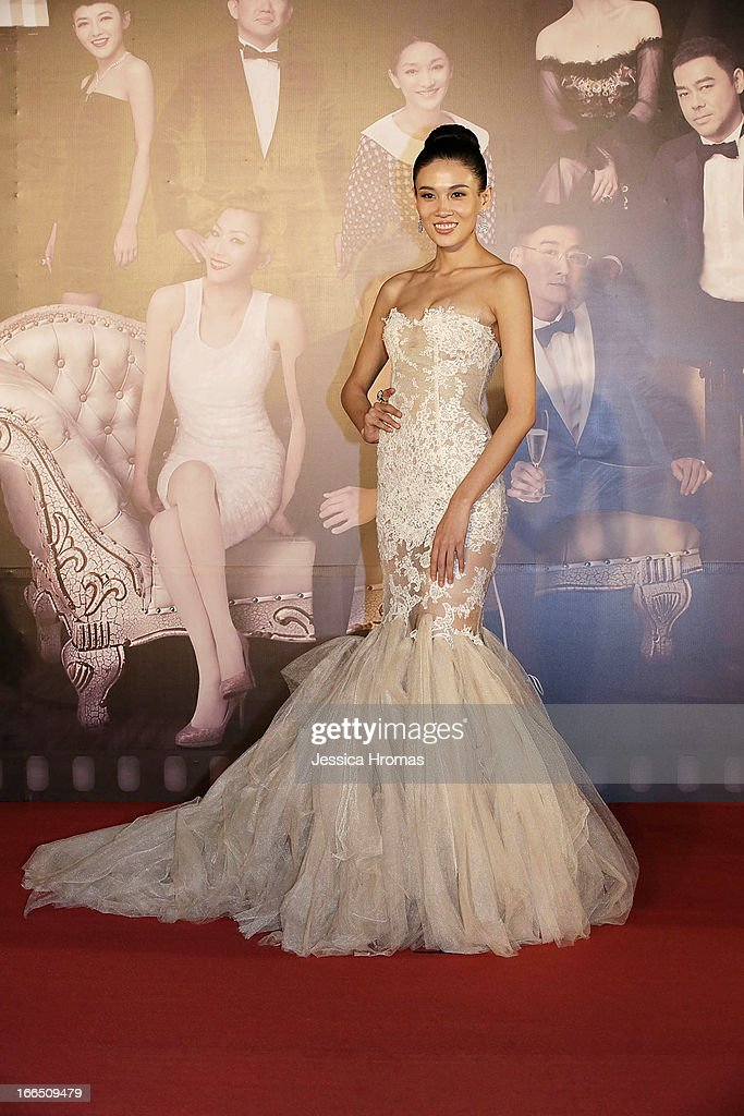 Actress Zhang Lanxin on the red carpet at the 2013 Hong Kong Film Awards on April 13, 2013 in Hong Kong, Hong Kong.