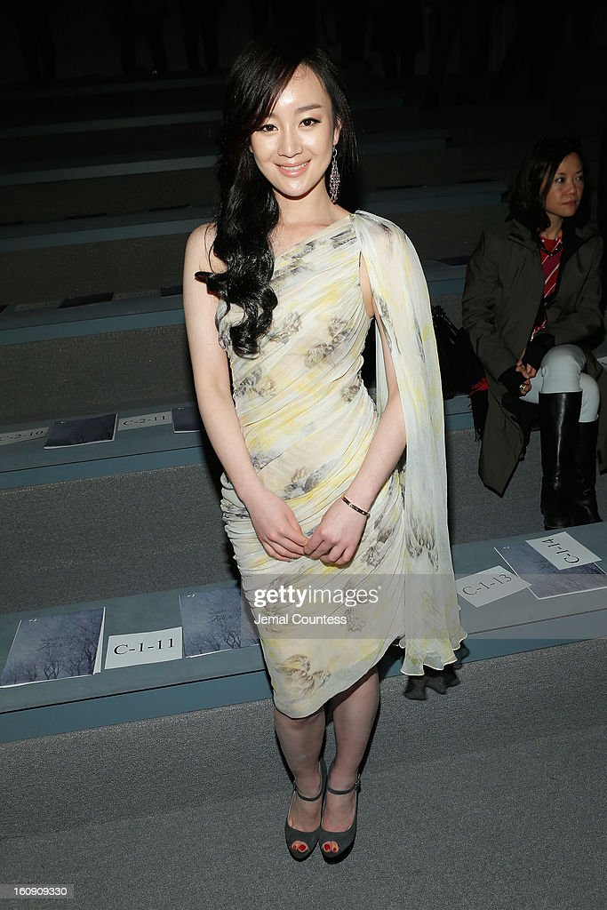 Actress Zhang Meng attends the Tadashi Shoji Fall 2013 fashion show during Mercedes-Benz Fashion Week at The Stage at Lincoln Center on February 7, 2013 in New York City.