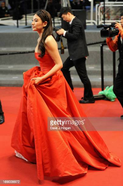 Actress Zhang Yuqi attends the 'Soshite Chichi Ni Naru' Premiere during the 66th Annual Cannes Film Festival at the Palais des Festivals on May 18...