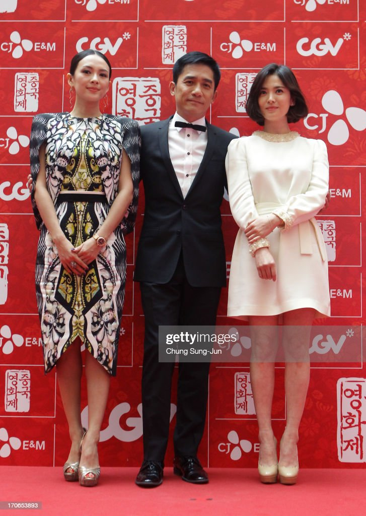 Actress Zhang Ziyi, actor Tony Leung Chiu Wai and actress <a gi-track='captionPersonalityLinkClicked' href=/galleries/search?phrase=Song+Hye-Kyo&family=editorial&specificpeople=4238502 ng-click='$event.stopPropagation()'>Song Hye-Kyo</a> arrive for 2013 Chinese Film Festival opening ceremony at Yeouido CGV on June 16, 2013 in Seoul, South Korea. The festival will showcases 11 films and runs from June 16-20.