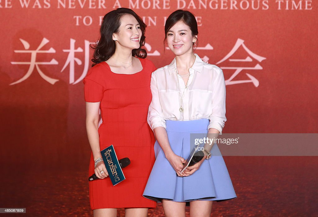Actress Zhang Ziyi and actress Song Hye Kyo attend 'the Crossing' press conference during the 2014 Beijing International Film Festival at Beijing...