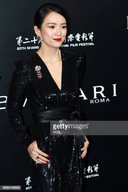 Actress Zhang Ziyi arrives at the red carpet of the Italian Film Week Opening Cocktail Party during the 20th International Film Festival on June 19...