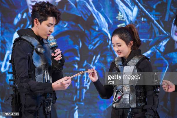 Actress Zhao Liying and actor Kris Wu Yifan attend the press conference of reality show '72 Floors of Mystery' on May 4 2017 in Beijing China