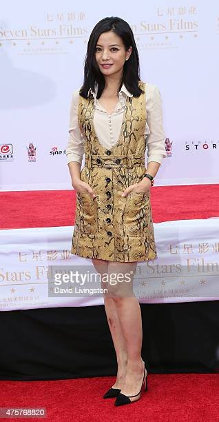 Actress Zhao Wei attends the Hand and Footprint Ceremony for Justin Lin Zhao Wei and Huang Xiaoming at the TCL Chinese Theatre IMAX on June 3 2015 in...