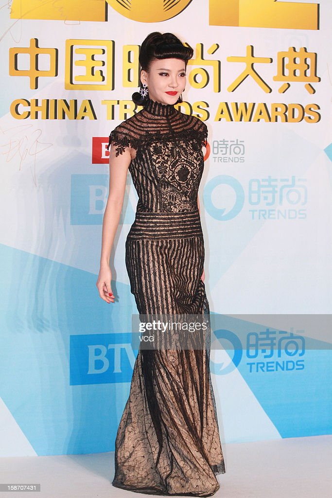 Actress Zhou Chuchu arrives at the red carpet of the 2012 China Trends Awards at BTV Grand Theater on December 22, 2012 in Beijing, China.