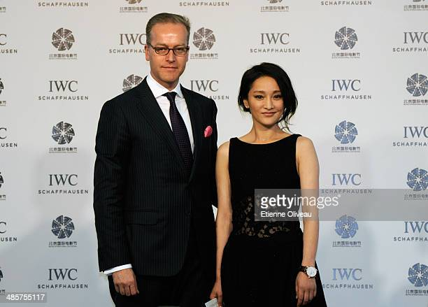 Actress Zhou Xun and IWC Director of Marketing and Communications Goris Verburg attend the 'For the Love of Cinema' press conference hosted by IWC...