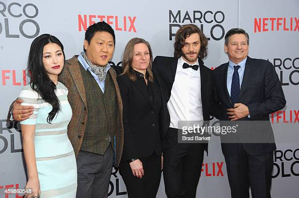 Actress Zhu Zhu Benedict Wong Cindy Holland Lorenzo Richelmy and Ted Sarandos attend the 'Marco Polo' New York Series Premiere at AMC Lincoln Square...