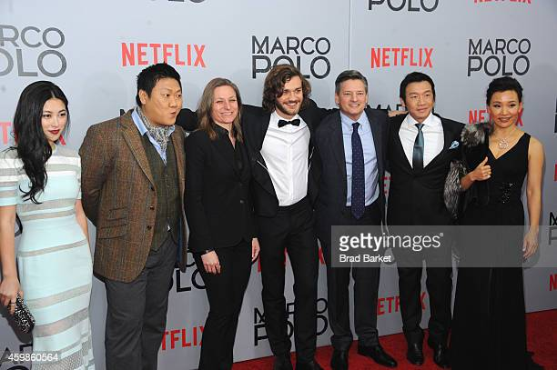 Actress Zhu Zhu Benedict Wong Cindy Holland Lorenzo Richelmy Ted Sarandos Chin Han and Joan Chen attend the 'Marco Polo' New York Series Premiere at...