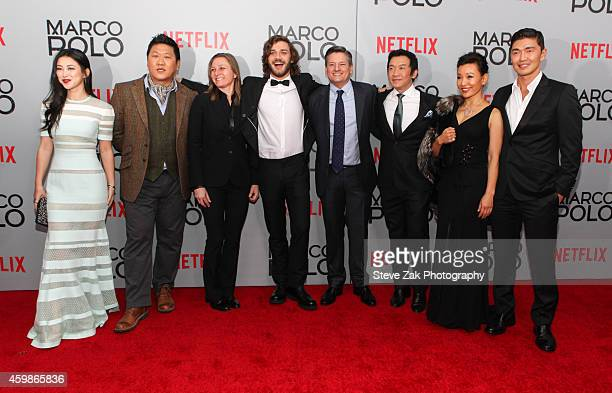 Actress Zhu Zhu Benedict Wong Cindy Holland Lorenzo Richelmy Ted Sarandos Chin Han Joan Chen and Rick Yune attend the 'Marco Polo' New York Series...