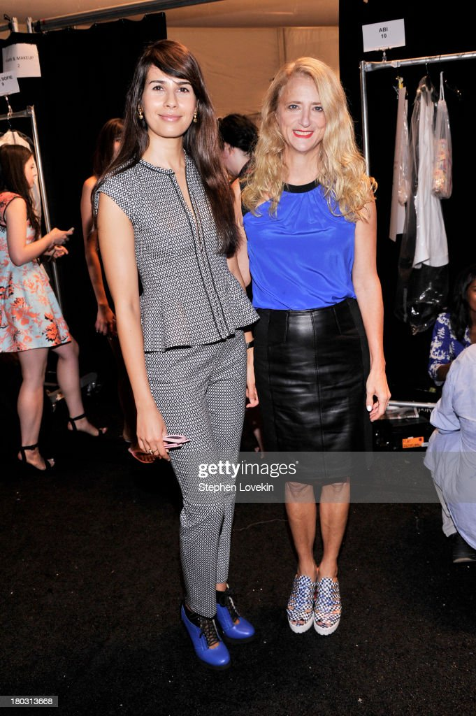 Actress Zineb Oukach (L) and designer Nanette Lepore pose backstage at the Nanette Lepore fashion show during Mercedes-Benz Fashion Week Spring 2014 at The Stage at Lincoln Center on September 11, 2013 in New York City.