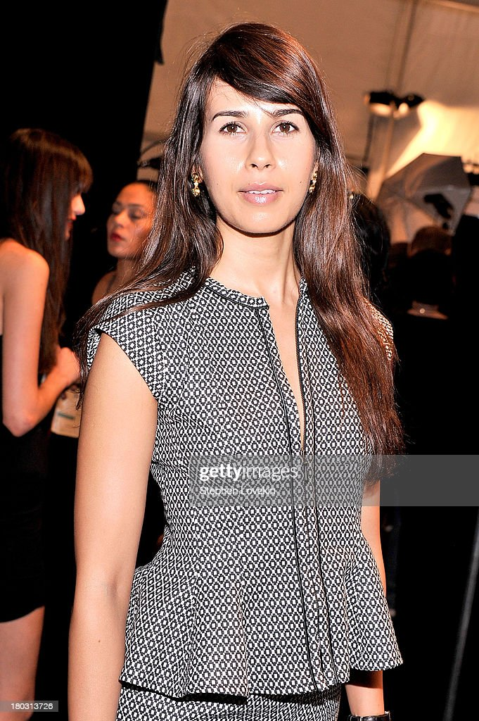 Actress Zineb Oukach poses backstage at the Nanette Lepore fashion show during Mercedes-Benz Fashion Week Spring 2014 at The Stage at Lincoln Center on September 11, 2013 in New York City.