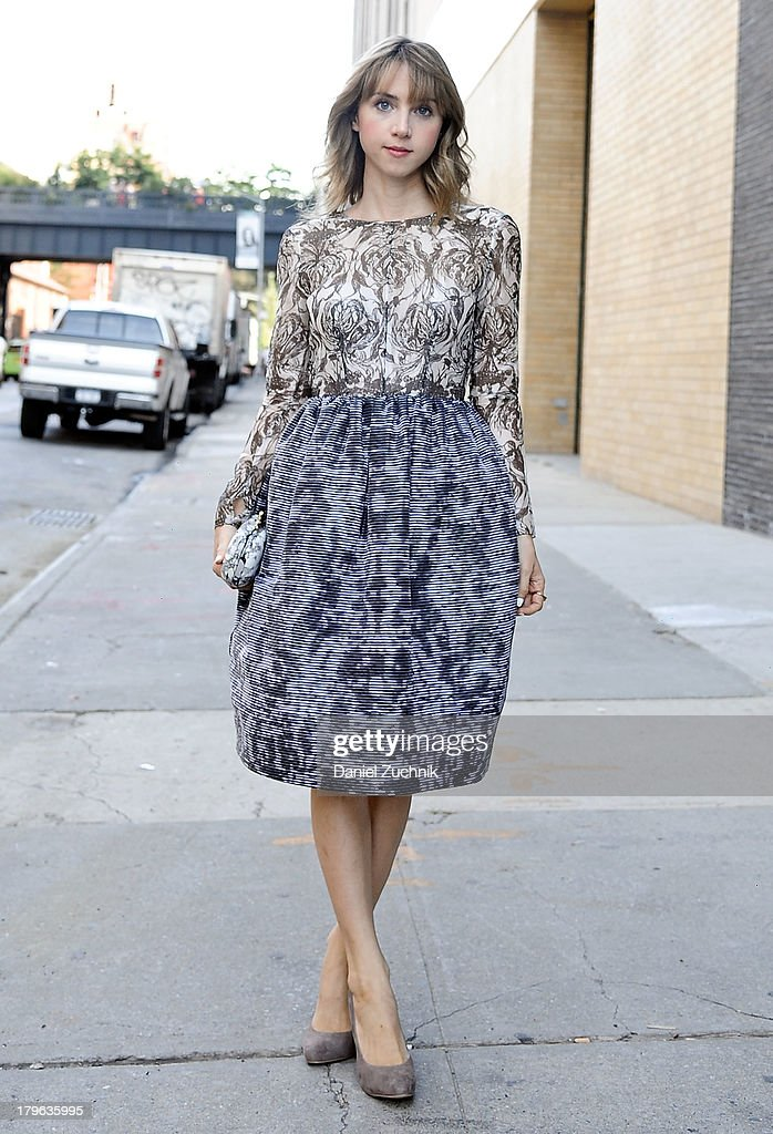 Actress <a gi-track='captionPersonalityLinkClicked' href=/galleries/search?phrase=Zoe+Kazan&family=editorial&specificpeople=3953779 ng-click='$event.stopPropagation()'>Zoe Kazan</a> is seen outside the Honor show wearing an Honor top and skirt with a Diane Von Furstenburg clutch on September 5, 2013 in New York City.