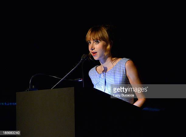 Actress Zoe Kazan speaks during PRADA Journal A Literary Contest In Collaboration With Feltrinelli Editore at the Prada Epicenter Store on October 23...