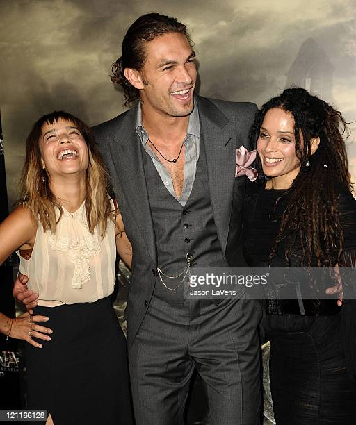 Actress Zoe Kravitz actor Jason Momoa and actress Lisa Bonet attend the premiere of 'Conan The Barbarian' at Regal 14 at LA Live Downtown on August...