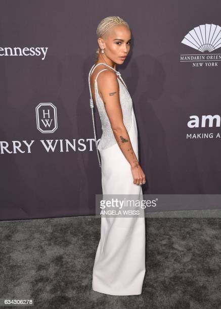 Actress Zoe Kravitz attends the 19th annual amfAR's New York Gala to kick off NY Fashion Week at Cipriani Wall Street on February 8 2017 in New York...