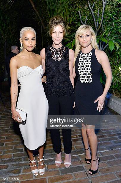 Actress Zoe Kravitz ELLE EditorinChief Robbie Myers and actress Reese Witherspoon attend ELLE's Annual Women In Television Celebration 2017 at...